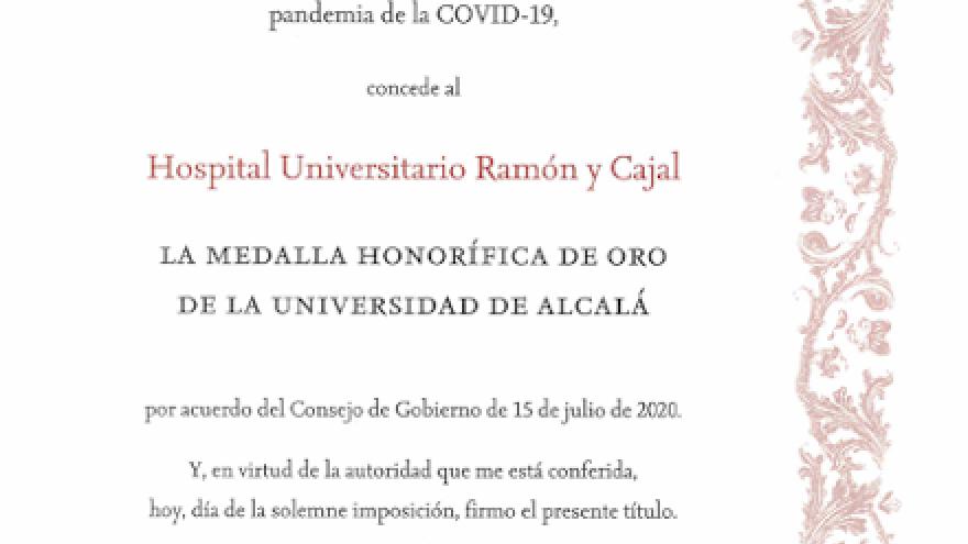 Imagen del documento de reconocimiento al Hospital Universitario Ramón y Cajal