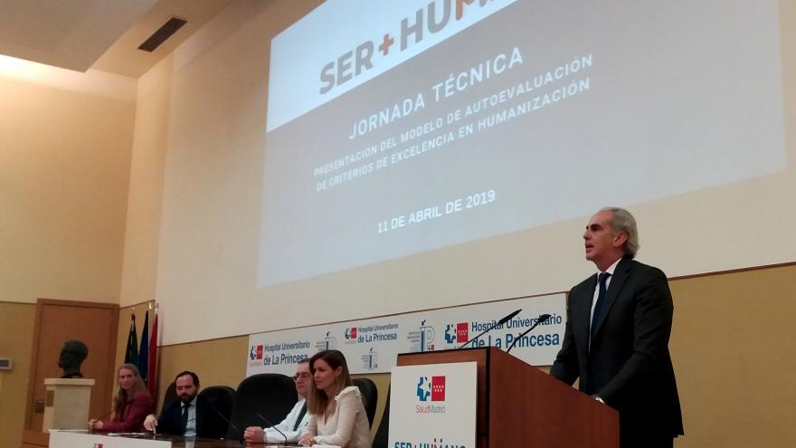 El consejero de Sanidad durante la presentación de los resultados del Modelo de Autoevaluación de Humanización