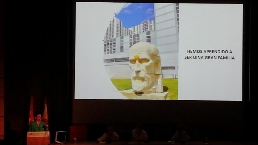 Imagen del Salón de Actos del Hospital Universitario Ramón y Cajal durante la exposición del estudio