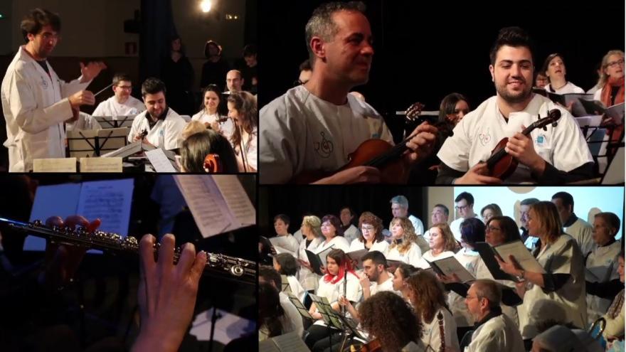 Composición de cuatro imágenes del Coro y Orquesta de atención primaria durante su actuación