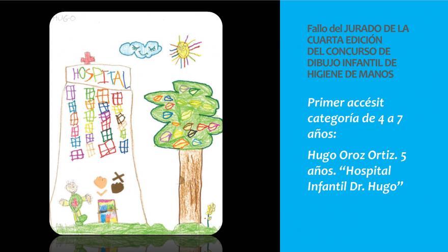Dibujo del Primer accesit categoria 4 a 7 años premio concurso infantil Higiene de manos 2019