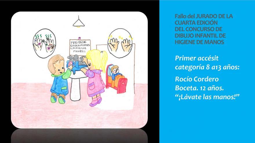 Dibujo del Primer accesit categoria 8 a 13 años premio concurso infantil Higiene de manos 2019