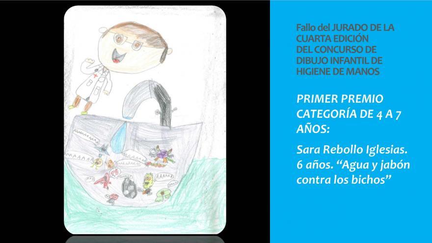 Dibujo del Primer premio categoria 4 a 7 años concurso infantil Higiene de manos 2019