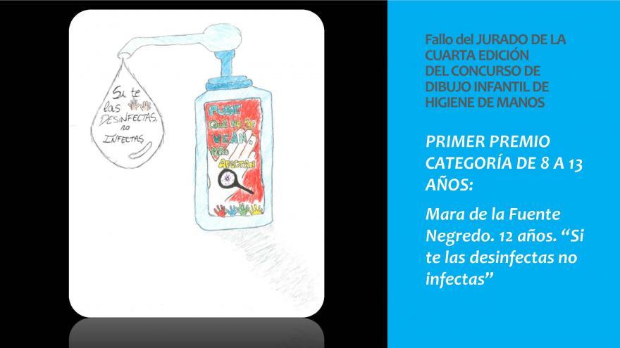 Dibujo del Primer premio categoria 8 a 13 años concurso infantil Higiene de manos 2019