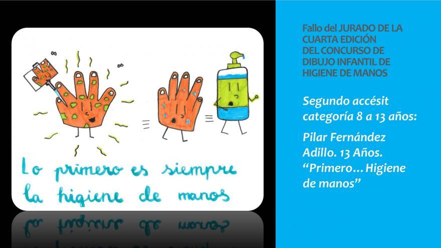 Dibujo del Segundo Primer accesit categoria 8 a 13 añospremio concurso infantil Higiene de manos 2019