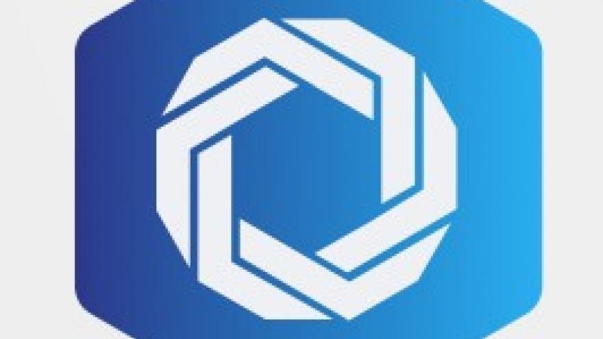 icono trenza sobre hexágono azul