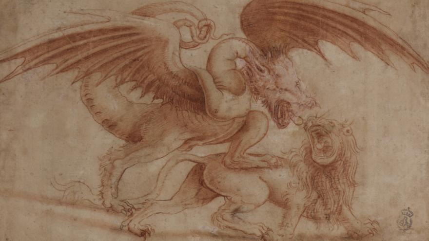 Imagen del Estudio de lucha de un dragón con un león