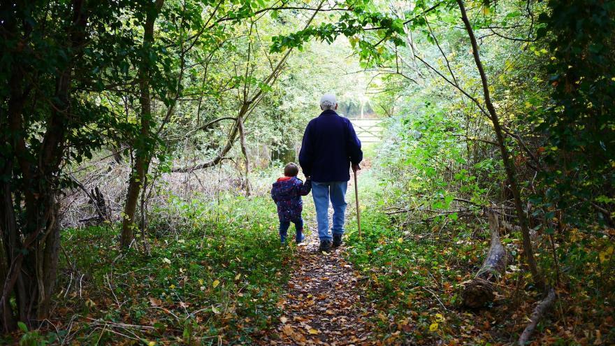 Abuelo con su nieto paseando por el campo.