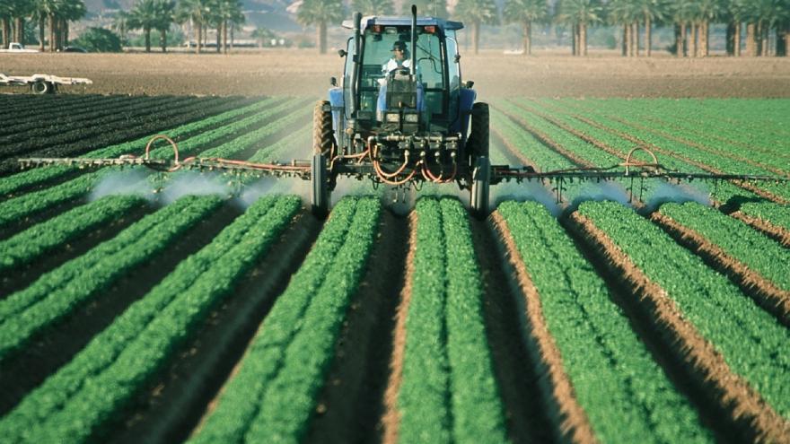 Maquinaria aplicando plaguicida en un cultivo