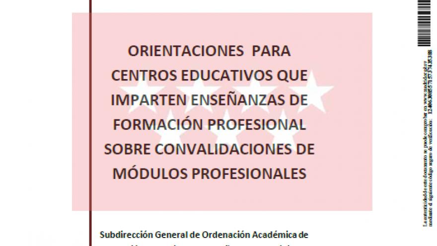 Orientaciones para centros educativos que imparten enseñanzas de Formación Profesional sobre convalidaciones de módulos profesionales.