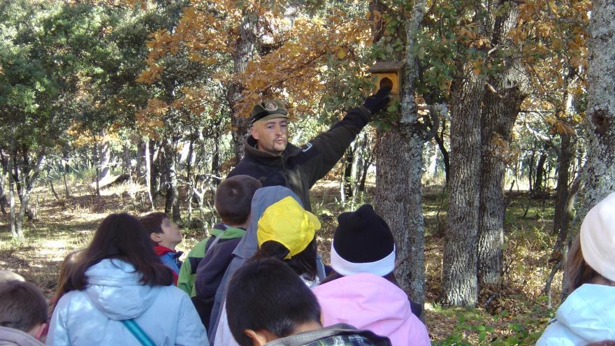Agente Forestal muestra nidales a un grupo de niños.