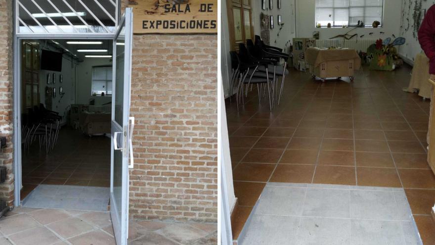 Accesos a la Sala de exposiciones del Centro de educación ambiental Caserio de Henares