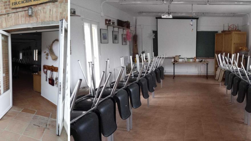 Acceso e interior del Aula multiusos del Centro de educación ambiental Caserio de Henares
