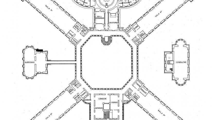 Imagen del plano original de la tercera planta de Maudes