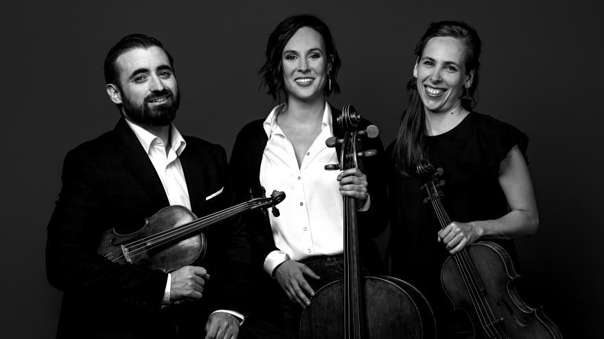 El grupo Divertimenti junto a sus instrumentos formado por dos mujeres y un hombre