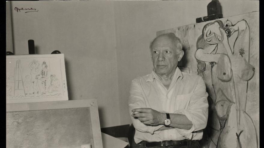 """Juan Gyenes. """"Picasso. Vallauris… ¡a las 12 de la mañana!"""". La Galloise, Vallauris, 2 de abril de 1954. Fundación Picasso. Museo Casa Natal"""