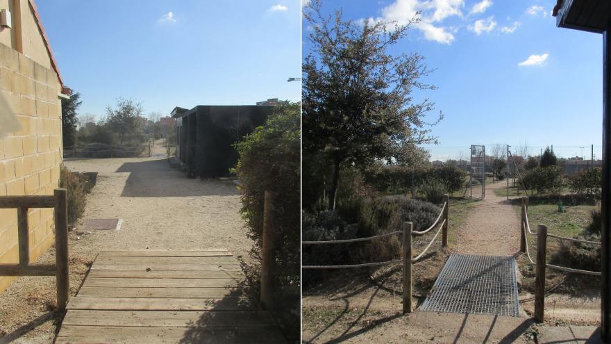 Acceso al Área de Plantaciones temáticas en el Centro de educación ambiental Bosque Sur