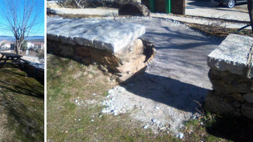 Mesa exterior y acceso al Jardín de los Sentidos en el Centro de educación ambiental El Cuadrón
