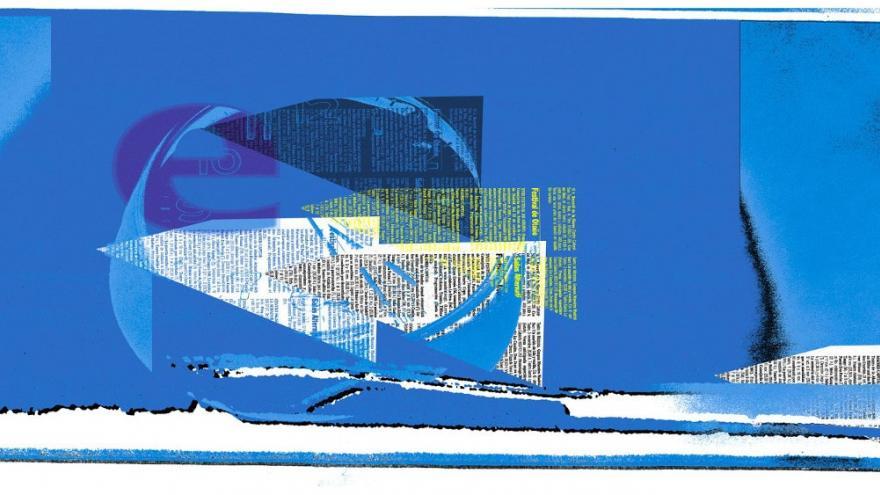 Mural en tonos azules con recortes de periódico y una e