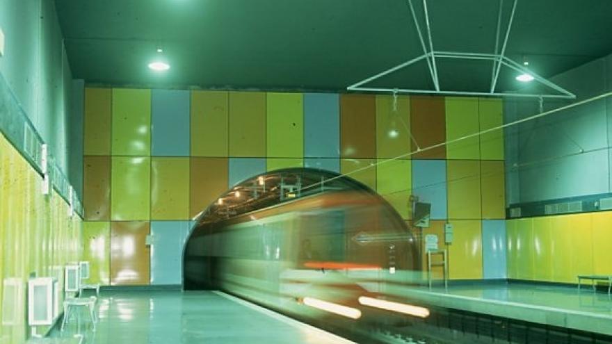 Tren entrando en los andenes de la estación de Buenos Aires