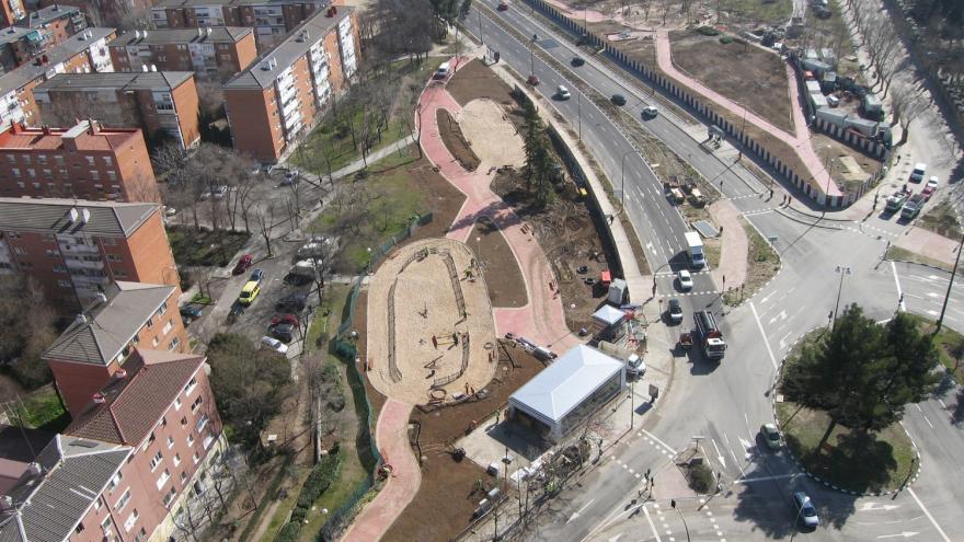 Vista aérea inicio de las obras de reurbanización de la estación La Almudena