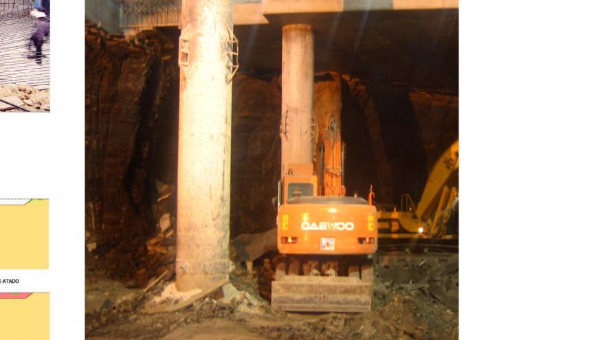 Excavación bajo losa de vestíbulo en la estación Doce de Octubre