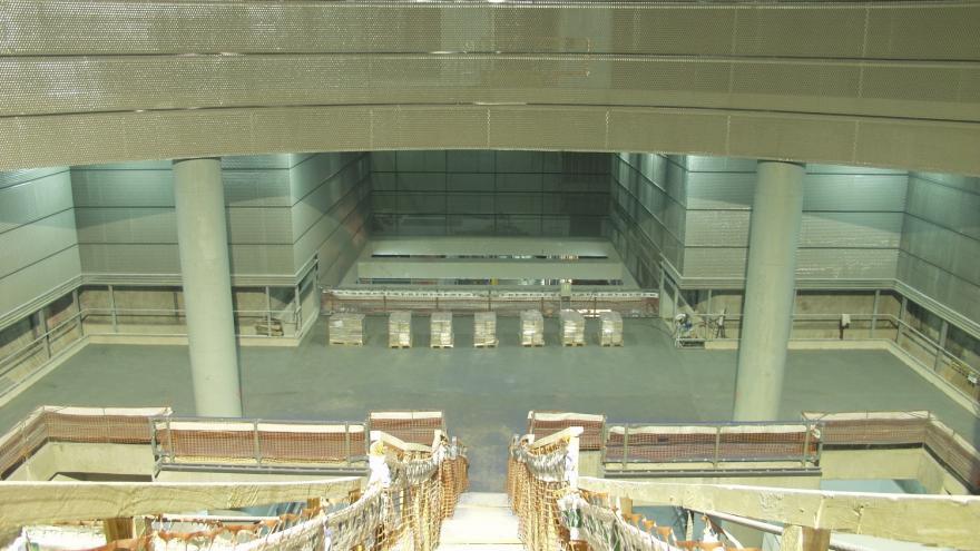 Estación de San Fermín-Orcasur durante la ejecución de las obras
