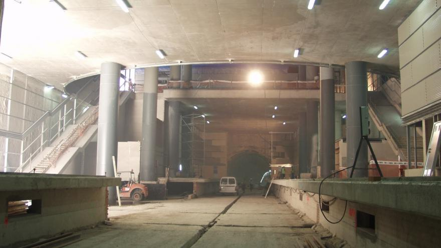 Vista de la estación Ciudad de los Ángeles en obras