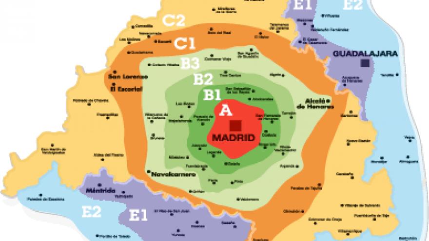 Mapa de la Comunidad de Madrid con las distintas coronas tarifarias del Abono Transportes