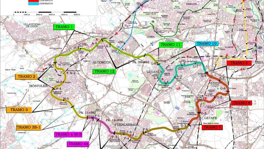 Plano Metrosur con contratos y tramos