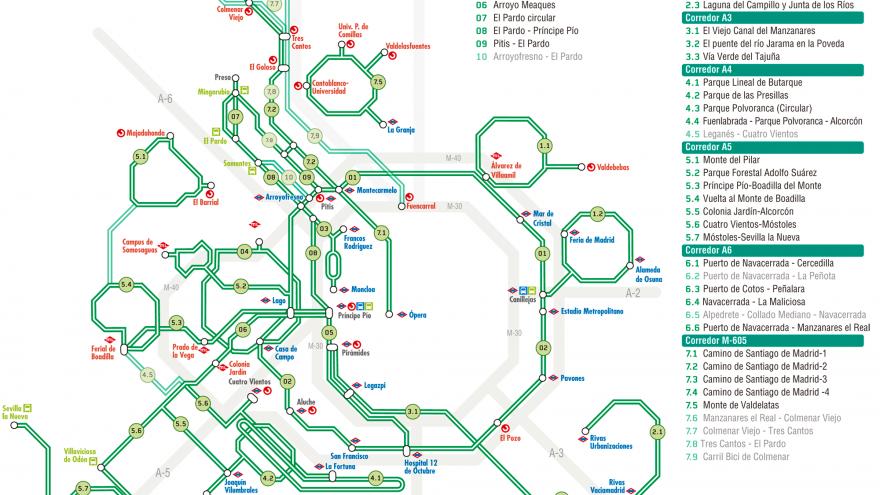 Esquema de la Comunidad de Madrid con las Rutas Verdes numeradas