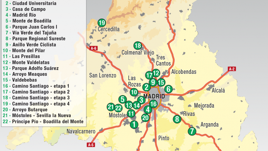 Mapa de la Comunidad de Madrid con las Rutas Verdes numeradas