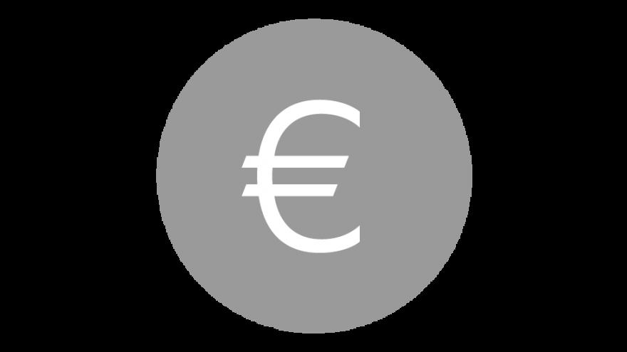 Símbolo del euro en gris