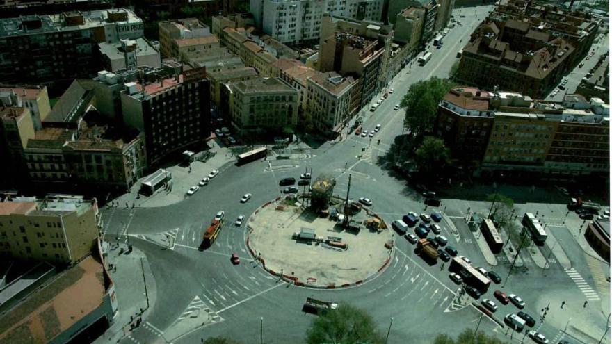 Vista aérea de la Plaza de Legazpi durante las obras