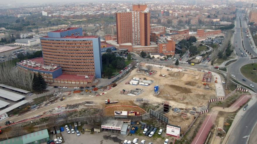 Vista aérea de las obras de la estación Hospital Doce de Octubre