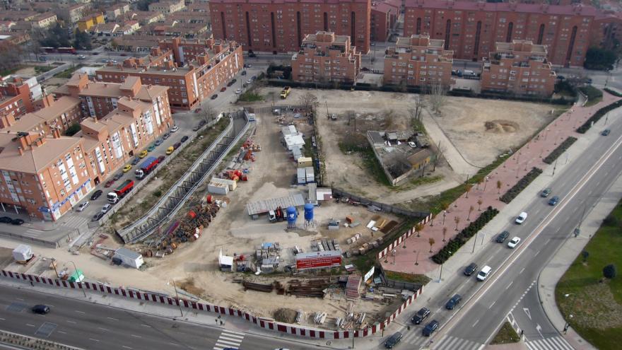 Vista aérea de las obras de la estación San Fermín-Orcasur