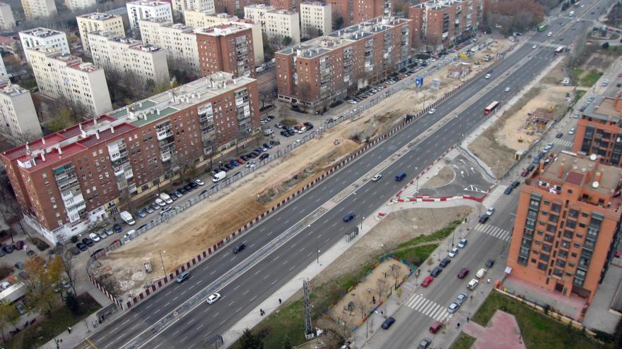 Vista aérea de la estación Ciudad de los Ángeles durante las obras