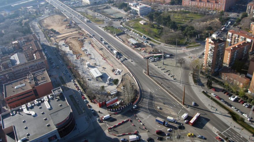 Vista aérea de la estación Villaverde Bajo-Cruce durante las obras