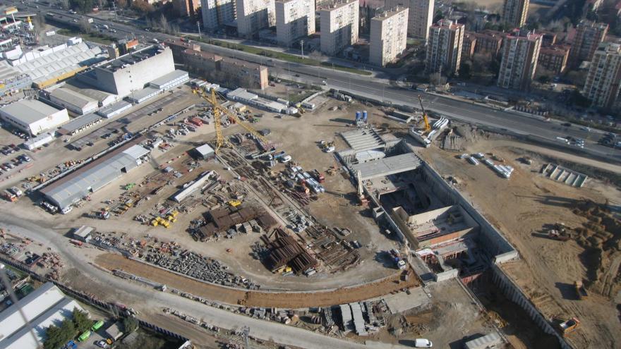 Vista aérea de la estación San Cristóbal durante la ejecución de las obras