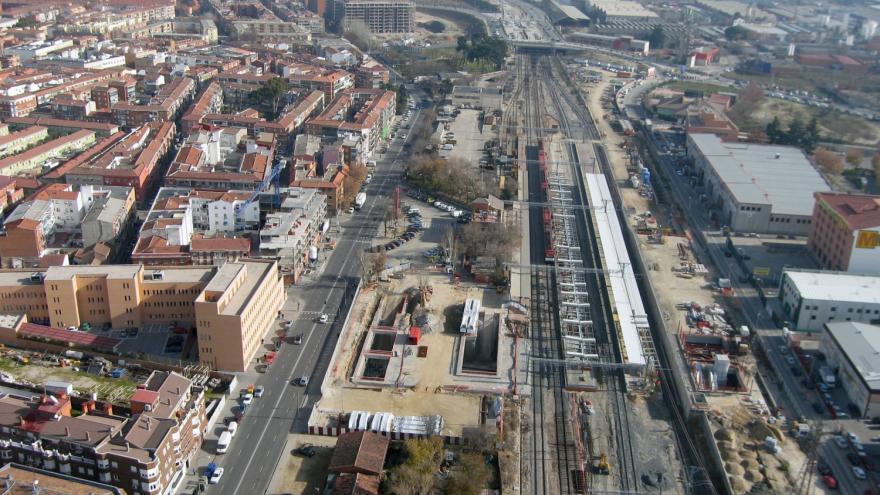 Vista aérea de la estación de Villaverde Alto durante las obras