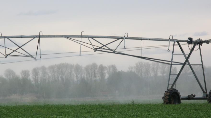 pivot de riego sobre campo de cereales