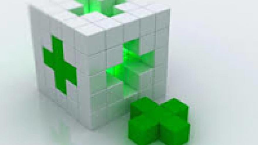 Dado con cruz verde de farmacia