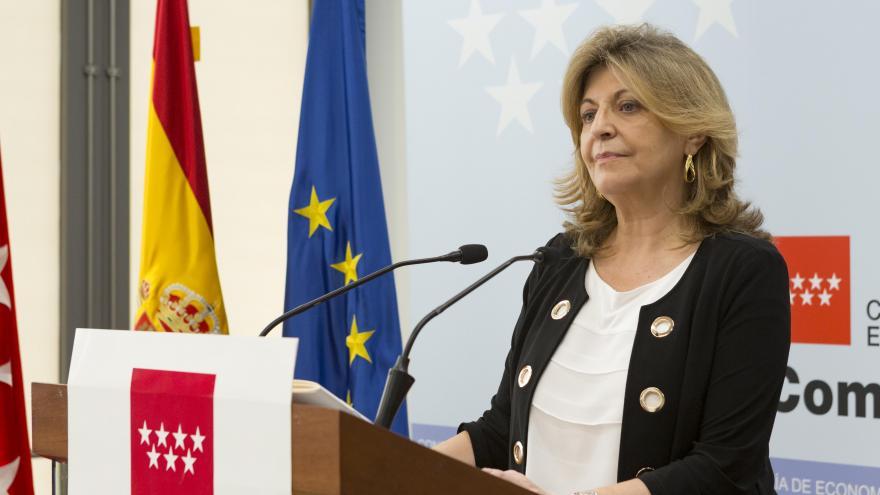 Engracia Hidalgo, consejera de Economía, Empleo y Hacienda, presenta los datos de empleo en la Comunidad de Madrid correspondientes a julio de 2018