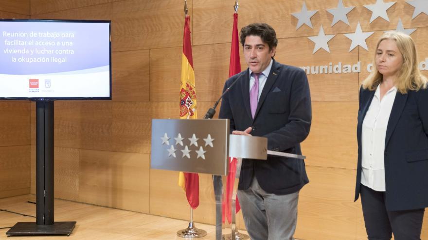 David Pérez durante la rueda de prensa posterior a la reunión con el Ayuntamiento de Madrid