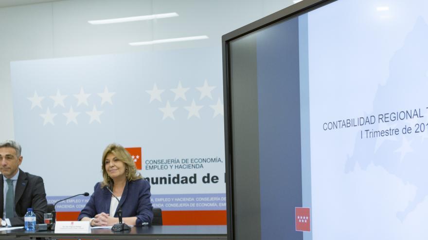 la consejera de Economía, Empleo y Hacienda, Engracia Hidalgo, presentando los datos de Contabilidad Regional Trimestral correspondientes al primer trimestre de 2019