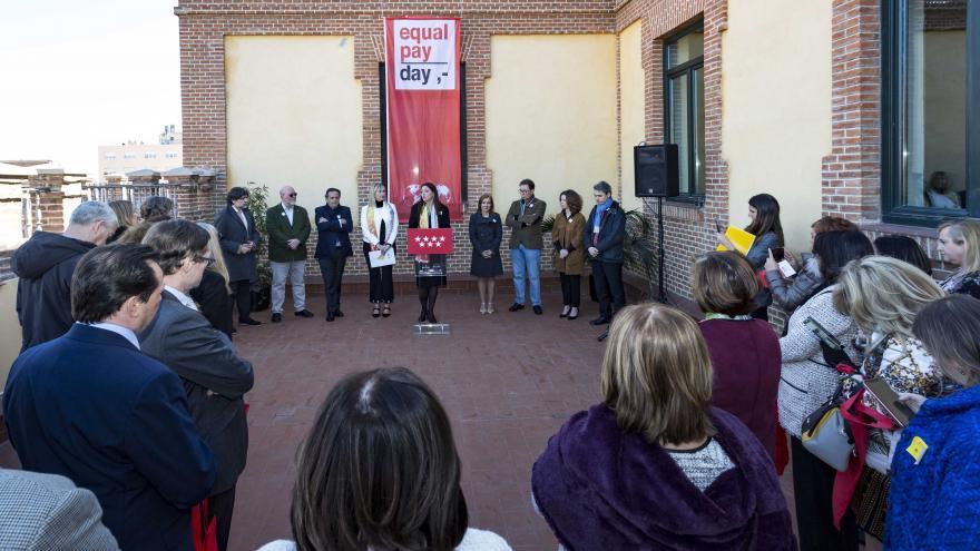 Lola Moreno en el acto de presentación de la campaña 'Equal Pay Day'