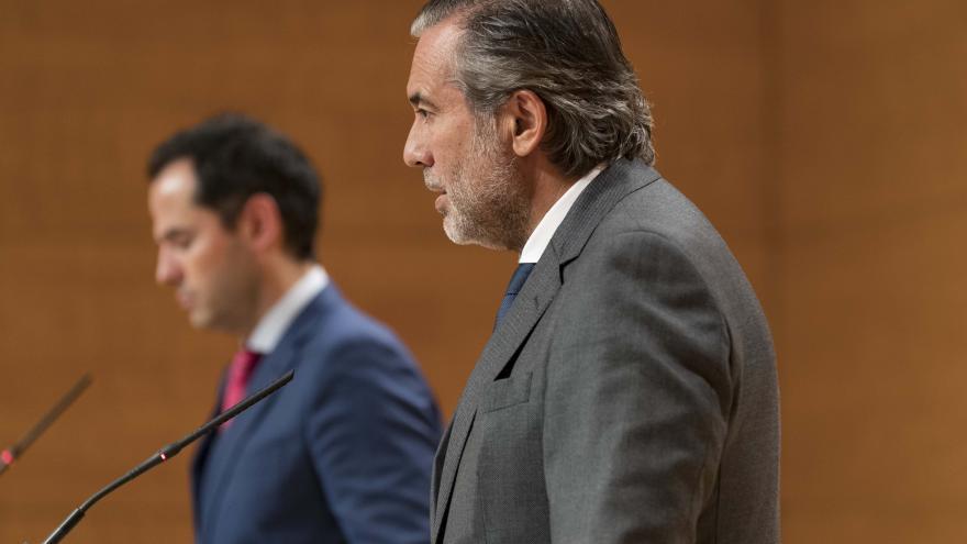 Enrique López e Ignacio Aguado durante la rueda de prensa