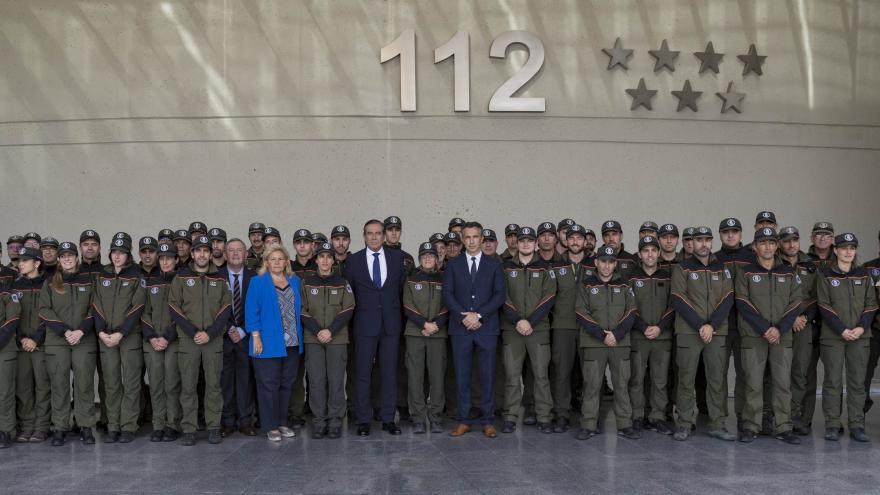 Imagen de Enrique López durante la toma de posesión de los 38 nuevos Agentes Forestales