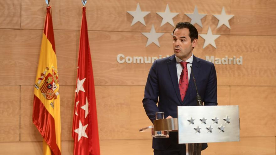 Ignacio Aguado durante la rueda de prensa
