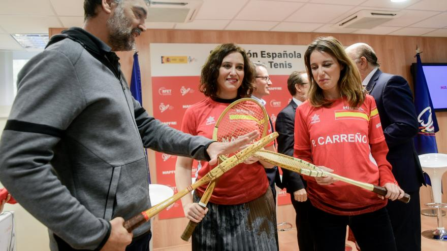 Isabel Díaz Ayuso en la presentación del equipo español que disputará la fase final de la Copa Davis de tenis